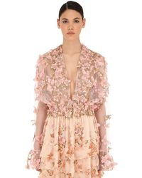 Luisa Beccaria Embellished Tulle Top - Pink