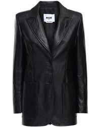 MSGM Однобортный Пиджак Из Искусственной Кожи - Черный