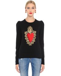 Dolce & Gabbana - Sacred Heart Intarsia Wool Knit Sweater - Lyst