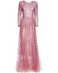 Valentino Платье Из Тюля С Вышивкой - Розовый