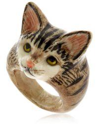 Nach - Grey Tabby Cat Ring - Lyst