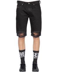 DIESEL - Slim Fit Ripped Cotton Denim Shorts - Lyst