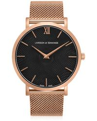 Larsson & Jennings - Lugano Sloane 40mm Rose Gold Black Watch - Lyst