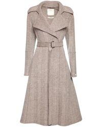 Sportmax Chevron Wool Belted Coat - Natural