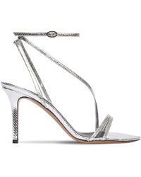 Isabel Marant 85mm Axee Python Print Leather Sandals - Metallic