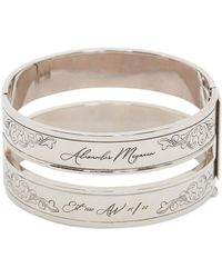 Alexander McQueen 3cm Engraved Logo Bangle Bracelet - Metallic