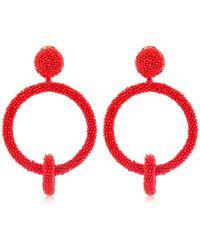 Oscar de la Renta Orecchini Clip-On A Cerchio - Rosso