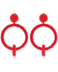 Oscar de la Renta Boucles D'Oreilles Clip-On En Perles - Rouge