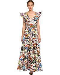 Mary Katrantzou Long Butterfly Print Cotton Satin Dress - Multicolour