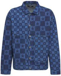 Jaded London Discharge Star Print Denim Jacket - Blue