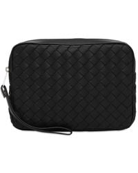 Bottega Veneta Intreccio Hydrology Leather Toiletry Bag - Black