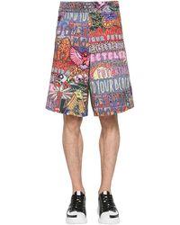 Neil Barrett Oversized Shorts Aus Canvas Mit Druck - Mehrfarbig