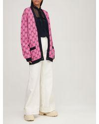 Gucci Gg Multicolor ウールブレンドニットカーディガン - ピンク