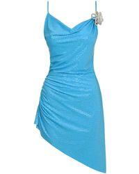 Mach & Mach Vestido Mini De Jersey Brillante - Azul