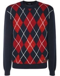 DSquared² Argyle Intarsia Wool Knit Sweater - Multicolour
