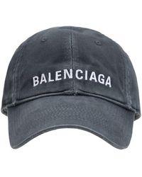 Balenciaga Kappe Aus Baumwolle Mit Logo - Grau