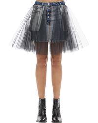 Unravel Project Tulle & Cotton Denim Mini Skirt - Black