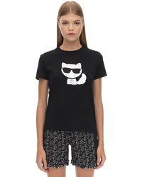 Karl Lagerfeld Verziertes T-shirt Aus Baumwolljersey - Schwarz