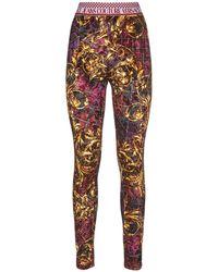 Versace Jeans Couture Samtleggings Mit Druck - Mehrfarbig