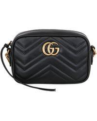 Gucci 【公式】 (グッチ)〔GGマーモント〕キルティング スモール ショルダーバッグブラック レザーブラック