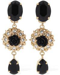 Dolce & Gabbana Black Roses クリスタルイヤリング - ブラック
