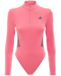 adidas Originals Long Sleeve Leotard W/ Mesh Insert - Pink