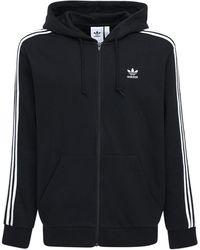 adidas Originals 3-stripes Zip Cotton Blend Hoodie - Black