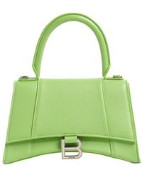 Balenciaga Sm Hourglass Grained Leather Bag - Green