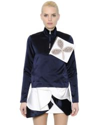 JW Anderson - Embellished Zip-up Silk Satin Blouse - Lyst