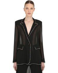 Marco De Vincenzo Embellished Georgette Blazer Jacket - Black