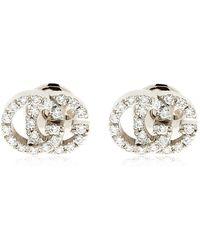 Gucci - 18kt White Gold & Diamond Gg Earrings - Lyst
