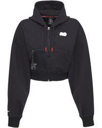 Nike Sweatshirt Aus Fleece Mit Zip - Schwarz