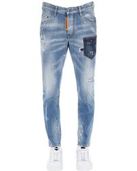 DSquared² 16cm Skater Cotton Denim Jeans - Blue