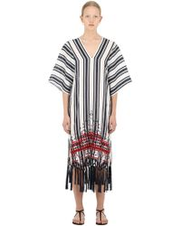 8f63396c3fb Tory Burch - Embroidered Linen Caftan Dress - Lyst