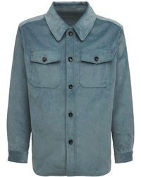 LC23 コットンコーデュロイオーバーシャツジャケット - ブルー