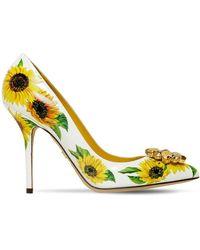 Dolce & Gabbana Pumps Aus Kalbsleder Sonnenblumen-Print Mit Brosche - Gelb