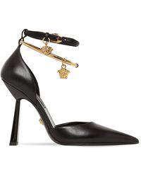 Versace Кожаные Туфли 110mm - Черный