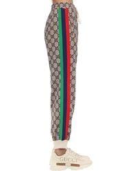 Gucci Gg Cotton Blend Jersey Trousers W/ Patch - Multicolour