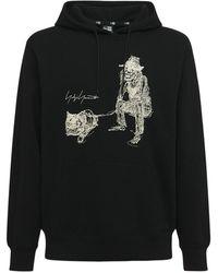 Yohji Yamamoto New Era Printed Cotton Jersey Hoodie - Black
