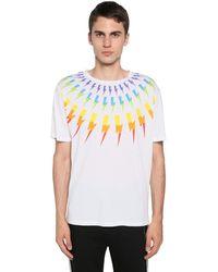 Neil Barrett T-shirt Aus Baumwolljersey Mit Druck - Weiß