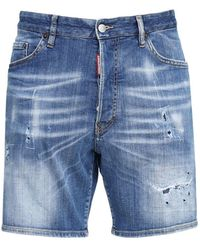 "DSquared² 26cm Shorts Aus Baumwolldenim ""marine Fit"" - Blau"