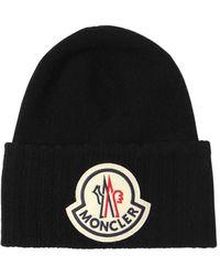 Moncler Шерстяная Шапка С Логотипом - Черный