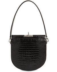 GU_DE Demilune Croc Embossed Leather Bag - Black