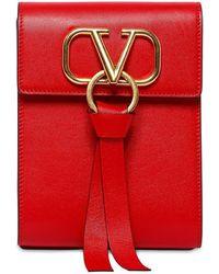"""Valentino Mini Rucksack Aus Leder Mit Logo """"go"""" - Rot"""