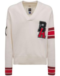 BOSS x Russell Athletic Logo Patch Wool Knit Sweater - Natural