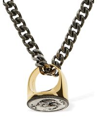 Alexander McQueen Crown & Skull Ring Charm Long Necklace - Metallic