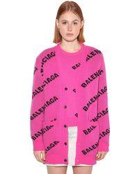 Balenciaga Кардиган Из Шерстяного Трикотажа - Розовый