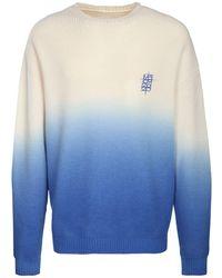 Marcelo Burlon Oversize Gradient Dyed Wool Knit Jumper - Blue