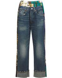 Junya Watanabe Jeans Aus Baumwolldenim Und Satin - Blau