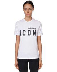 DSquared² Camiseta De Jersey Con Estampado - Blanco